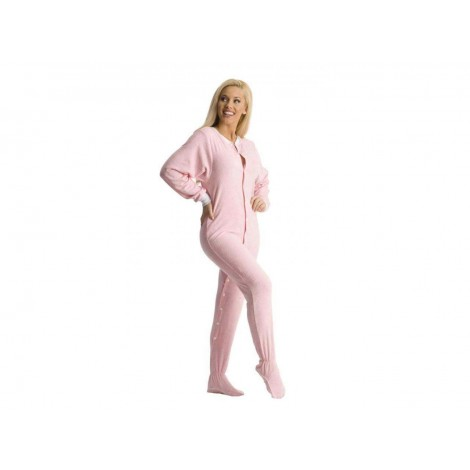 Pink Terry Cloth Adult Footed Pajamas