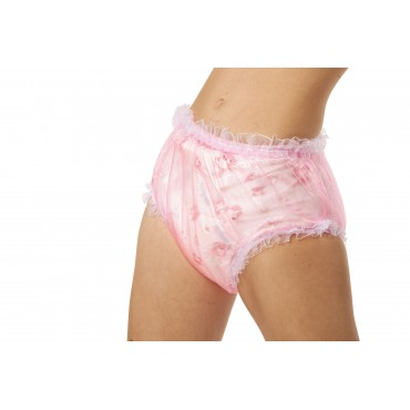 PINK  FRILLY PLASTIC DIAPER COVERS